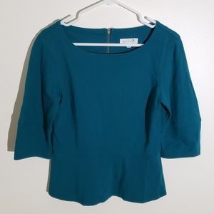 Anthropologie Reath & Wren Teal Peplum Zip Up Top